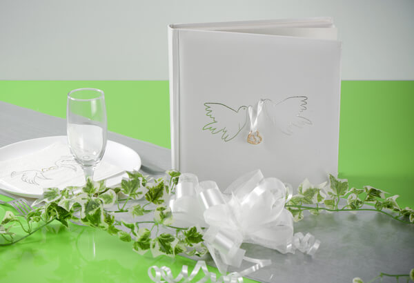 Decoration livre d or mariage colombe