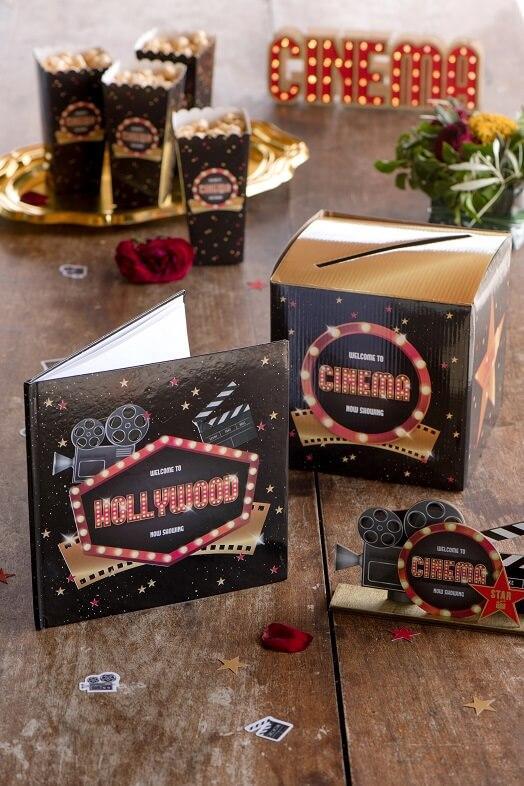 Decoration livre dor cinema hollywood