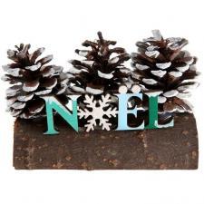 Décoration Noël givré sur bûche en bois et pommes de pin (x1) REF/6996