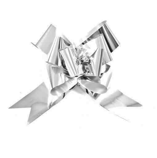 Decoration noeud automatique a tirer metallique argent