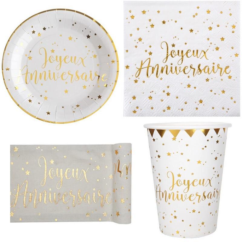 Decoration or et blanc joyeux anniversaire
