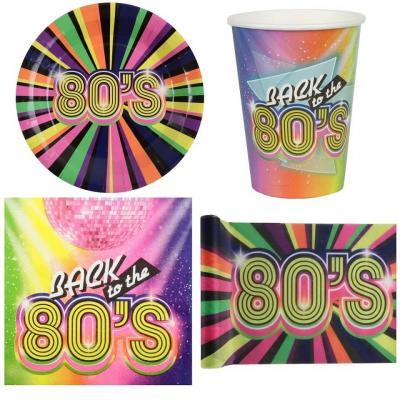 1 Pack décoration vaisselle jetable année 80 multicolore de 10 personnes.
