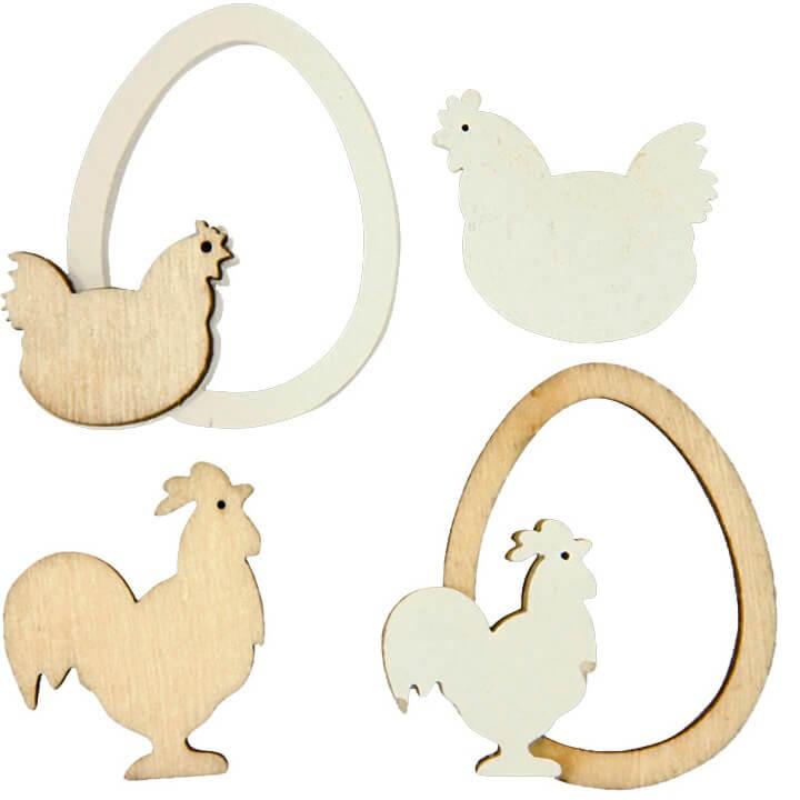 Decoration paques en bois et poule