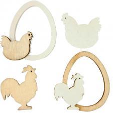 Décoration Pâques en bois avec poule (x8) REF/PAQ1004