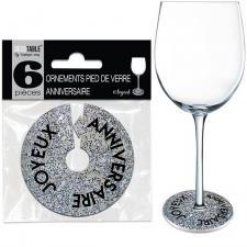 Décoration pied de verre joyeux anniversaire argent (x6) R/OVP00A