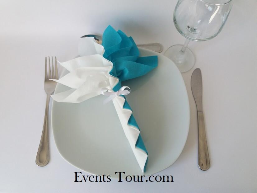 Decoration pliage de serviette palmier blanc et bleu turquoise 1