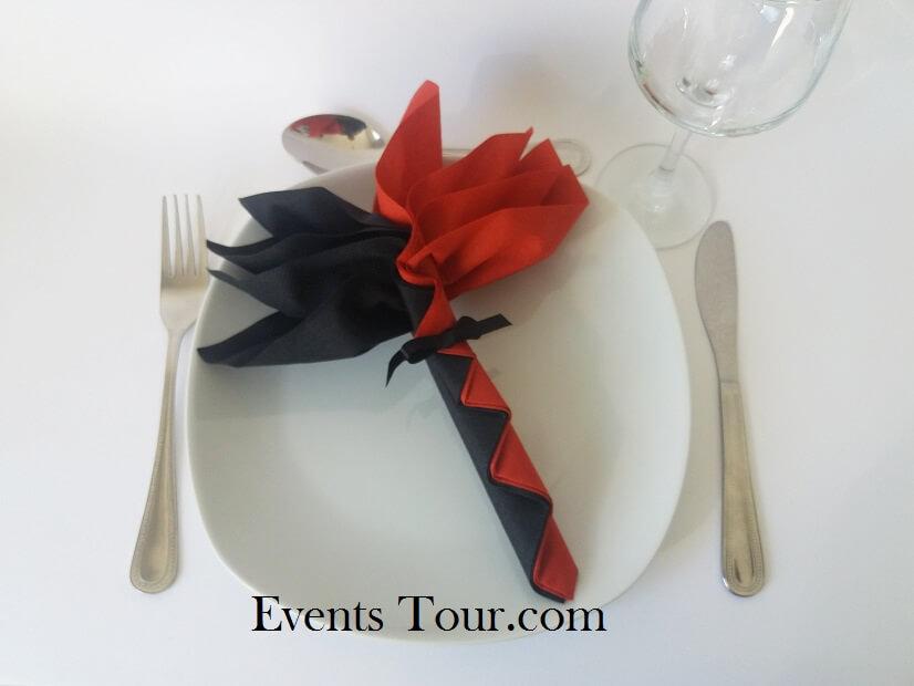 Decoration pliage de serviette palmier noir et rouge