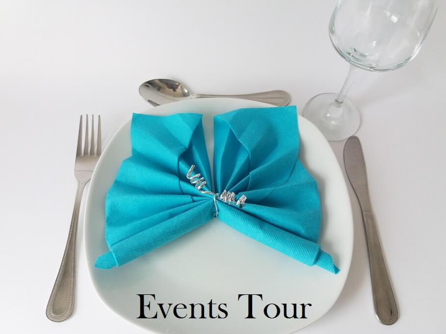 Decoration pliage de serviette papillon bleu turquoise 1
