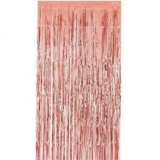 Rideau de porte rose gold métallique avec franges 90cm x 2.40m (x1) REF/GUI083