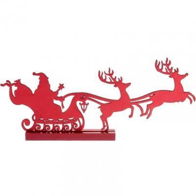 Décoration rouge en bois avec traineau du père Noël et ses cerfs (x1) REF/7069