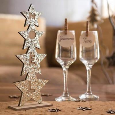 Décoration de table sapin de Noël doré pailleté de 27cm (x1) REF/7107