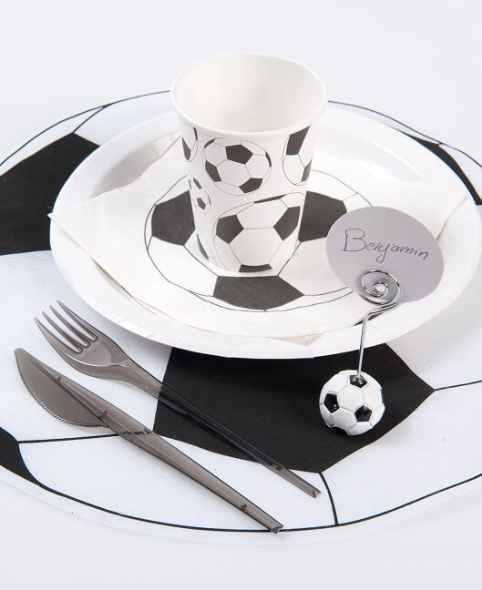Decoration serviette de table football blanche et noire