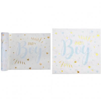 Pack décoration avec 1 chemin de table et 20 serviettes Baby Shower Boy en bleu ciel, blanc et doré REF/7254-7251
