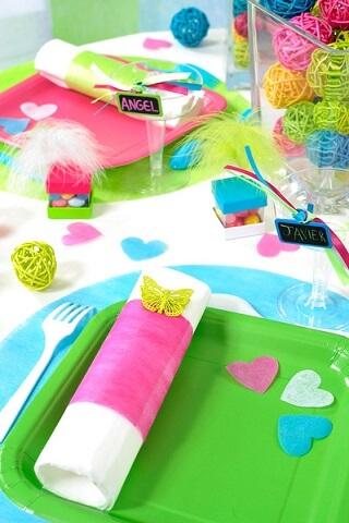 Decoration set de table bleu turquoise