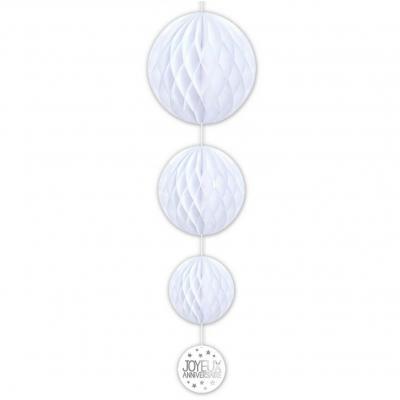 Décoration suspension anniversaire blanche avec 3 boules (x1) REF/SBTA00