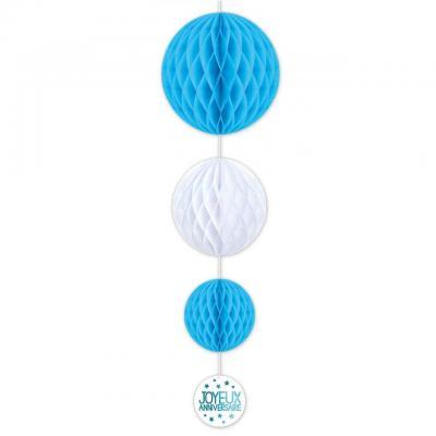 Décoration suspension anniversaire bleue et blanche avec 3 boules (x1) REF/SBTA00