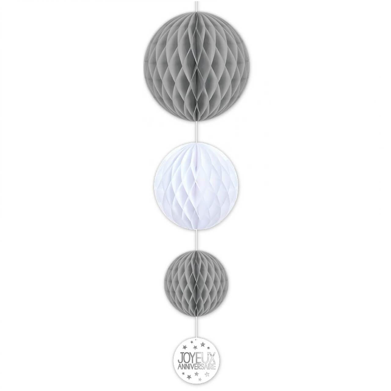 Decoration suspension anniversaire grise et blanche avec 3 boules