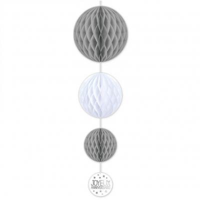 Décoration suspension anniversaire grise et blanche avec 3 boules (x1) REF/SBTA00