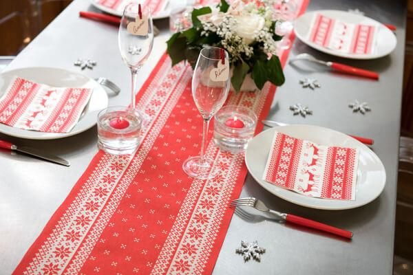Decoration table de noel rouge