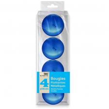Decoration vase bougie flottante metallisee bleue