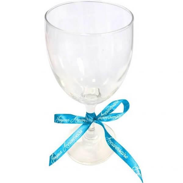 Decoration verre avec ruban joyeux anniversaire bleu