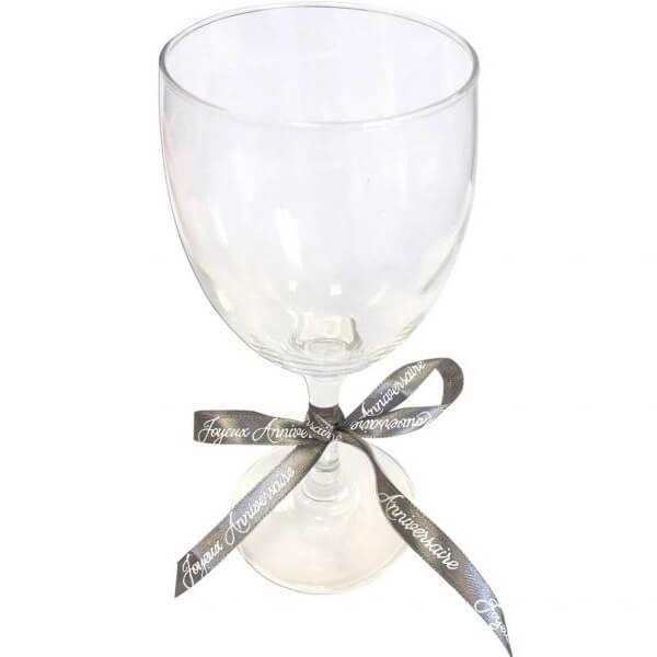 Decoration verre avec ruban joyeux anniversaire gris