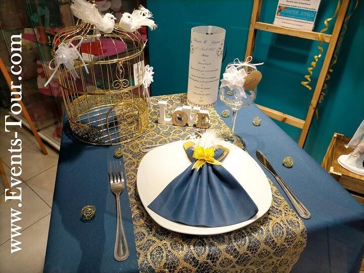 Decoration verre mariage elegant blanc et bleu