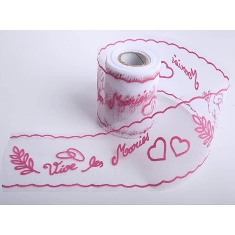 Decoration voiture mariage avec ruban tulle mariage vive les maries rose fuchsia