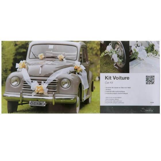 Decoration voiture mariage blanc