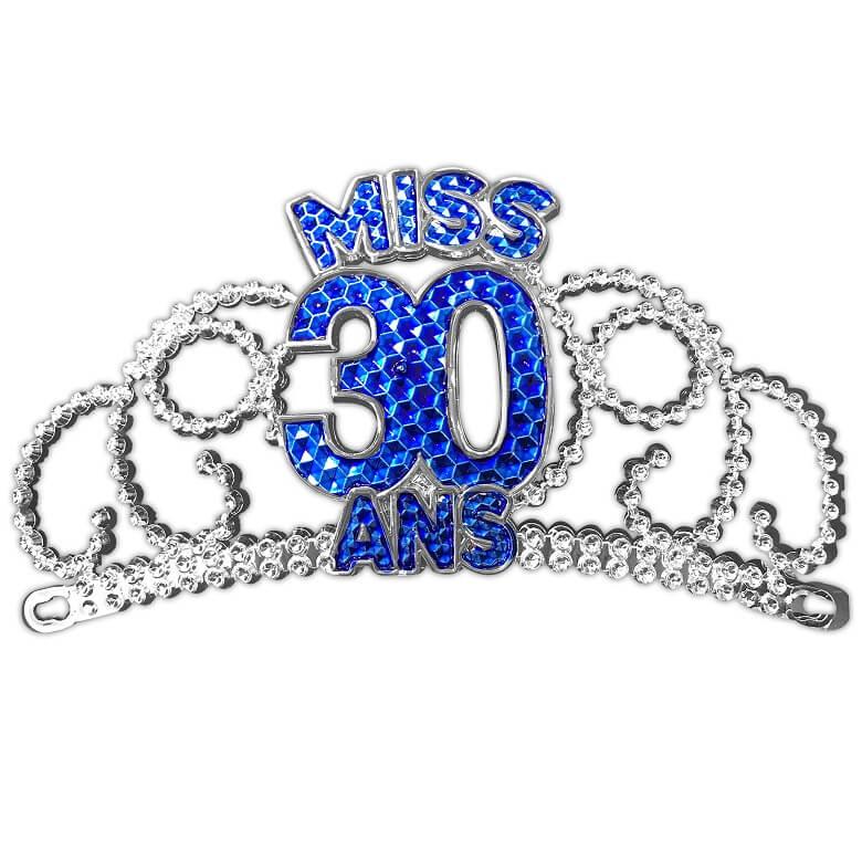 Diademe anniversaire 30 ans bleue et argent