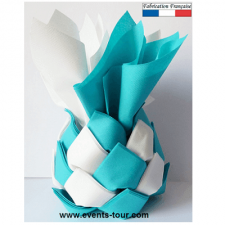 Distributeur ananas avec 30 pliages de serviette blanc et bleu turquoise