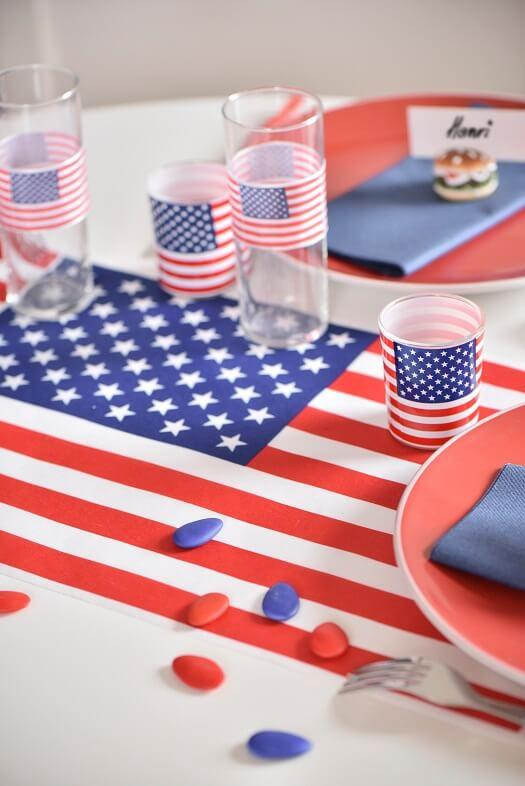 Drapeau tricolore americain usa en set de table
