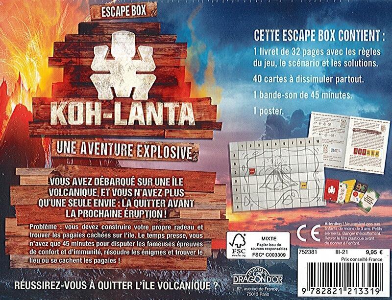 Escape game box jeu de societe koh lanta une aventure explosive