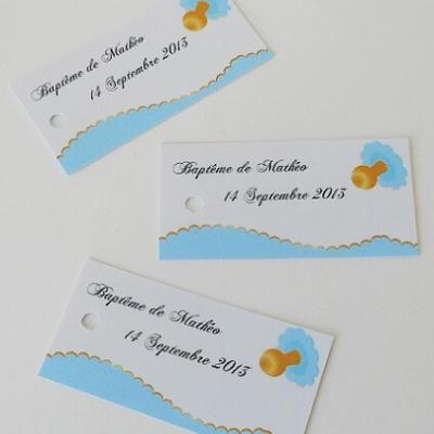 Étiquette à dragées Baptême bleu et tétine (x10) REF/10096