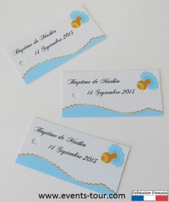 Étiquette à dragées baptême: Bleu (x10) REF/10096