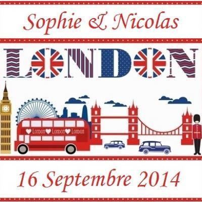 Étiquette à dragées Londres (x10) REF/10131