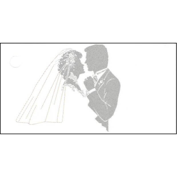 Etiquette a dragee mariage couple de maries argent et blanc