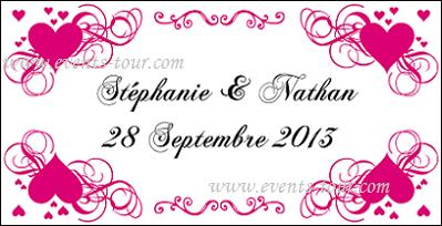 Étiquette à dragées mariage: Coeur (x10) REF/10104