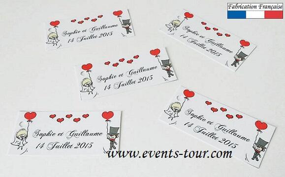 tiquette drages mariage cartoon x10 ref10109 - Etiquette A Dragee Mariage