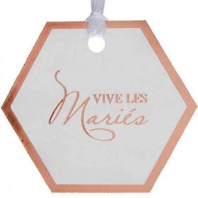 Étiquette à dragées mariage vive les mariés blanc et rose gold avec ruban (x5) REF/7403