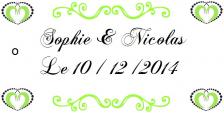 Étiquette à dragées mariage: Heart (x10) REF/10107