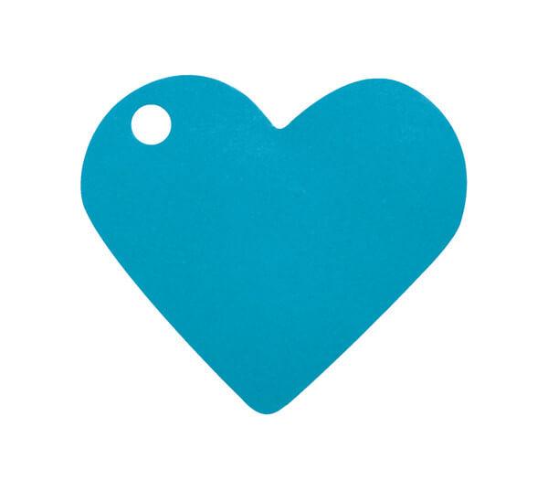 Etiquette bleu turquoise coeur