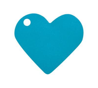 Étiquette bleu turquoise coeur (x10) REF/2987