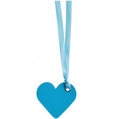 Étiquette bleu turquoise coeur mariage avec ruban (x12) REF/4528