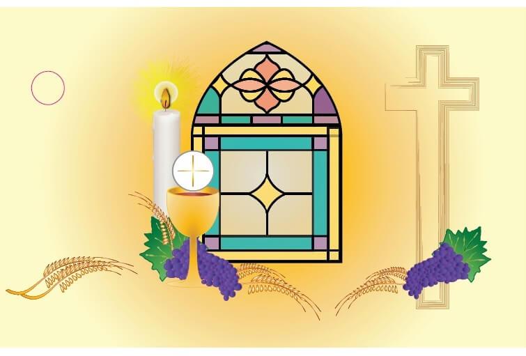 Etiquette communion vitrail