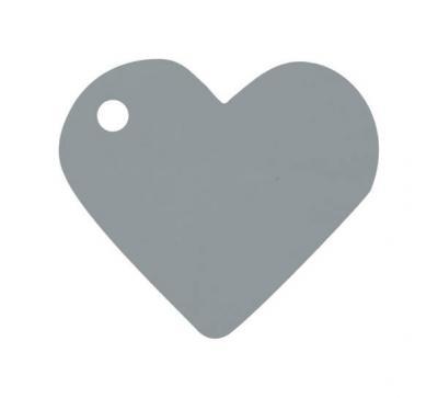 Étiquette grise coeur (x10) REF/2987