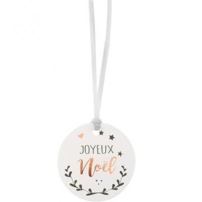 Étiquette blanche joyeux noël (x12) REF/6144