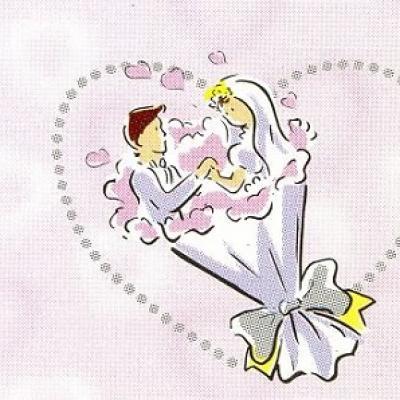 Étiquette mariage: Couple de mariés rose (x10) REF/CTM08022