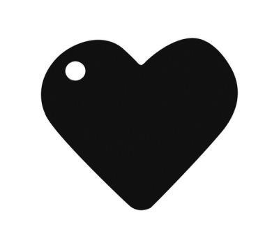 Étiquette noire coeur (x10) REF/2987