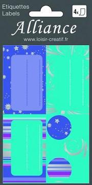 Etiquette papier cadeau noel bleu turquoise